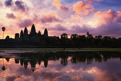 Colorful Ankor (sventaubert) Tags: yellow sky sunrise city water travel blue sun light clouds old tourism architecture temple summer building beautiful history green asia pink cambodia angkor mirror ancient colorful landmark siem reap wat historic