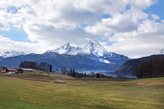 Berchtesgadener Land (rotraud_71) Tags: germany bavaria berchtesgadenerland spring mountain watzmann snow meadow sky clouds