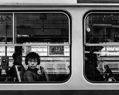 On a tram in Prague (torbus) Tags: czech prague humans people publictransportation windows traffic blackwhite oldcity 2017 praha expressions streetphotography architecture monotone tram monochrome