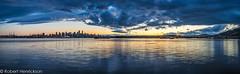 vancouver Cityscape-29 (Robert Henrickson) Tags: panaorama vancouver burrardinlet hdr twilight cityscapes skyline oceanscape beautifulbritishcolumbia explorebc wetreflections clouds sunset spring sony a99 minolta