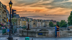 Ah Paris! (BAN - photography) Tags: paris petitpont architecture cloud sunset artistic d800e boyandgirl riverseine leftbank dontwalk lights clouds