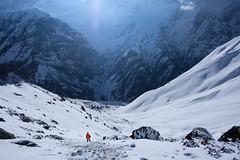 Man vs Mountain (munjean) Tags: mountains mountain trekking hiking snow abc annapurna fishtail annapurnabasecamp nature