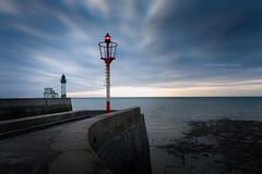 Gardien de phare (cbreadwine) Tags: baiedesomme le tréport phare sunset mer sea clouds ciel sky blue hour lighthouse