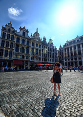 Exploring Grand Place in Brussels, Belgium (` Toshio ') Tags: toshio brussels belgium grandplace bruxelles europe european europeanunion girl woman square guildhouses people city history fujixe2 xe2