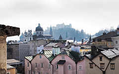 Salzburg Altstadt - over the roofs - (rotraud_71) Tags: austria salzburg oldtown detail picturequecenter altstadt buildings roofs fortress towers mist sun rooftops