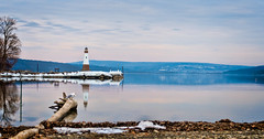 Ithaca in the Distance (agladshtein) Tags: tompkinscounty lighthouse cny winter nikond500 people nikkor2470mmf28 destination ny fingerlakes myerspointlight centralnewyork cayugalake newyork scenic camera snow ice frozen myerspark ithaca seagull landscape