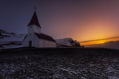Vik church (Toni_pb) Tags: iceland islandia church vik contrast colors contraste nikon minimalist mystic nikkor1424f28 sky sunrise d810 snow reflection reflejo warm mountain