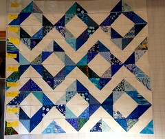 Ten out of 16 rows prepared (shireye) Tags: quilt pattern diamonds triangles blue herfavouritecolour