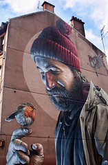 High Street Mural, Glasgow (Street Art) (alison2mcewan) Tags: st mungo glasgow patron saint scotland street mural fresco outdoor smug sam bates australian artist painting scottish 6th century cathedral story revive back life restore bird robin
