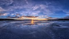 Reflections (Kari Siren) Tags: sun sunset evening ice water pond karijärvi jaala finland