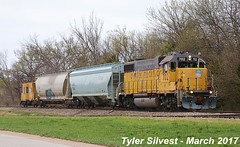 UP 702 with UP Caboose 25881 3-31-17 (KansasScanner) Tags: up unionpacific railroad train bonnersprings kansas local caboose