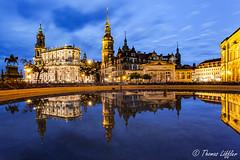 city reflection (funtor) Tags: dämmerungnacht spiegelungen dresden sachsen germany city cityscape silhouette color bluehour