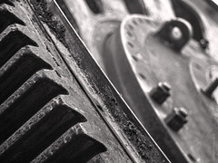 the machine (gnarlydog) Tags: urbex adaptedlens manualfocus abstract rust old machine mechanical cogs industrial decay monochrome bokeh shallowdepthoffield bolts vintagelens pentacon50mmf18 blackwhite blackandwhite highcontrast