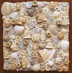 """Cream City Candy"" (Mosaic Mirm) Tags: miriam sushman mixed media mosiac mosaic mirm shells pottery shards bone buttons ceramic beads"