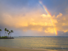 Hawaiian Rainbow at Sunset (RobertCross1 (off and on)) Tags: 20mmf17panasonic em5 hi hawaii honolulu kahala omd oahu olympus pacificocean beach clouds evening landscape ocean palmtree rainbow sand seascape sunset surf trees water waves