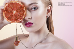 Bashful Owl (grapefruit) (Katelin Kinney) Tags: druzy quartz crystal fruit icecream strawberry grapefruit pear geod glitter shine shimmer sparkly conceptual surreal advertising campaign beauty commercial blond beautiful jewels gems