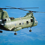 CH-46 Sea Knight Helicopter is shown in flight over the Demilitarized Zone thumbnail