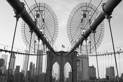 Suspense (marktmcn) Tags: brooklyn bridge manhattan view tower towers new york city nyc cables cable steel wire ovals oval discs wires steelwired cablestayed suspension lattice spanning east river iconic structure blackandwhite monochrome d610 nikkor world trade center