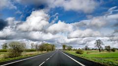 On the way... (radimersky) Tags: 1920x1080 landscape car from zsamochodu droga road clouds chmury niebo skyline krajobraz travel day dzień blue sky niebieskie aprkil kwiecień spring wiosna samsung a52016 smartphone