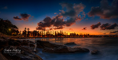Looking Towards Manly Beach At Sunset - Panoramic (Simon Pratley) Tags: 24mm 5dmkiii afternoon atardecer australia beach blue bluehour canon clouds coast costa dusk evening goldenhour graduatedfilter landscape leefilters leegraduatedfiter light longexposure luz manlybeach movement neutraldensity nubes ocean orange outdoor panorama panoramic playa rocks seascape simonpratleyphotography sky skyline sunset sydney urban urbanscape waves elmar lacosta