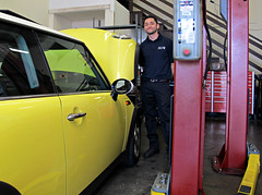 It's the Little Things, like finding a mechanic you like and trust. (Bennilover) Tags: cars mechanics shops repair mini minicooper yellow littlethings trust friends mechanic shop repairs service