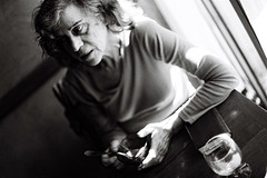 my friend (asketoner) Tags: summer portrait woman paris france cup water glass table dessert restaurant daylight friend eating spoon booknote