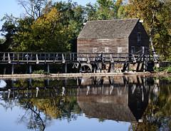 Reflections of a mill (Mary Susan Smith) Tags: bridge autumn newyork reflection building fall mill water wooden westchestercounty sleepyhollow philipsburgmanor gamewinner challengeyouwinner cychallengewinner