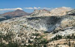 Yosemite's Epic Rock (Xuberant Noodle) Tags: california park ca summer camp cliff sun beautiful rock pine trek landscape climb earth sunny bowl hike national yosemite backpack granite wilderness glacial