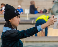 Selfie Time - Candid - Trafalgar Square (Panasonic TZ60) (markdbaynham) Tags: street city travel people urban london westminster square lumix zoom candid capital trafalgar panasonic metropolis tz compact selfie tz60
