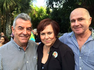 Artist Rafael Vadia with Lilia Garcia and Cesar Trasobares at the Huff party