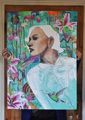 Flutter (id-iom) Tags: flowers woman bird graffiti paint hummingbird stickers spray jungle kingfisher vandalism lillies idiom