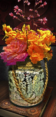 Flowers in Mercury (John Jardin) Tags: flowers light roses stilllife orange reflection nature glass floral yellow colorful shadows bright mercury interior vase blooms decor arrangement nasturtiums coralbells