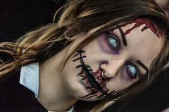 Zombie Wednesday Addams (Cissa Rego) Tags: halloween skeleton costume scary blood zombie shaunofthedead