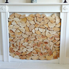 split log tiles by The Log Basket, in a surround - customer image (The Log Basket) Tags: wood fireplace natural display rustic logs tiles surround split feature alcove logwall thelogbasket customerimage