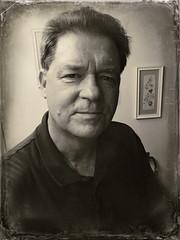 Calm (MPnormaleye) Tags: portrait bw selfportrait monochrome face self blackwhite candid utata processing iphone selfie tuntype