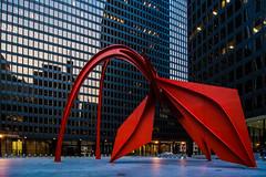 Flamingo (JB_1984) Tags: sculpture usa chicago abstract reflection tower art skyscraper illinois twilight artwork unitedstates dusk flamingo il theloop alexandercalder federalplaza caldersflamingo