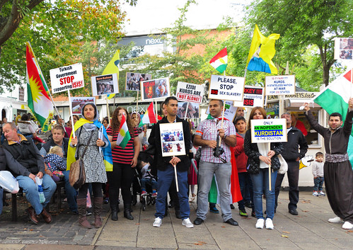 Kurdish people protest against the Turkiish government at Hay Hill, Norwich