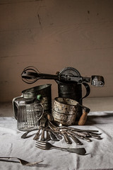Kitchen Still Life (kitchenbeard) Tags: small knife fork spoon sugar butter syrup whisk sifter