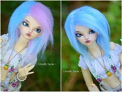 MSD Wigs on Etsy  (Citrouille Sucre) Tags: pink blue cute fur doll sale handmade pastel crafts wig bjd luts fairyland msd unoa minifee rheia