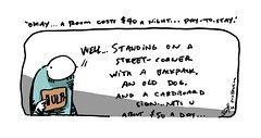 """any help is appreciated"" - an Across the Pond comic by eric Hews  2014 (eric Hews) Tags: street charity copyright dog money sign illustration night puppy fun hotel funny eric comic drawing room board homeless humor cartoon emo motel funnies philosophy bum beggar help cardboard strip need comicstrip haha pup toon shelter behavior society hobo stay beg vagrant psychology needy 2014 homelessness hews spbn erichewscom erichews ennuizle 2014erichews acrossthepond smallplanetbenice"