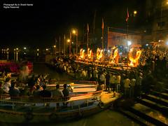 Ganga Arti on River Ganges @ Dashashwamedh Ghat, Varnashi (Ar.Shakti Nanda) Tags: morning india river lights evening slow ar olympus architect shutter nanda 80 ganga sadhu shakti ganges 9mm pradesh banaras aarti ashi ghat uttar bhubaneswar assi varanashi varnasi odisha shaktinanda arrati
