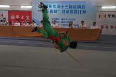 Martial Arts Competition/ - Staff/(Liuzhou, Guangxi/) 1203 (Petr Novk ()) Tags: china sport jump asia chinese competition martialarts staff weapon kungfu asie  wushu guangxi liuzhou          na martialartscompetition