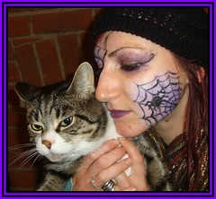 Scaredy Cat (Margaret Edge the bee girl) Tags: portrait halloween cat spider costume paint web makeup