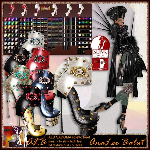 ALB SADOMA stiletto heels with 34 texture hud - to slink high feet