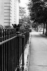 Fence outside City hall Cardiff (technodean2000) Tags: city uk white black wales fence outside mono hall nikon south cardiff lightroom d5200