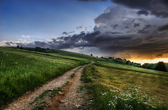 Every Day Is A Journey (Dimmilan) Tags: road flowers sunset sky storm nature grass clouds landscape countryside path serbia hills fields rajac