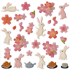 Cherry Blossoms & Rabbits Stickers (kawaii_fabric_and_paper) Tags: pink flowers flower rabbit bunny japan cherry japanese stickers blossoms