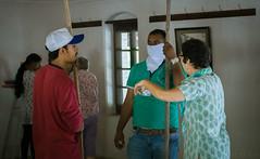 Service Project -Heather instructing Sahavasees, Mandali Hall Cleaning,