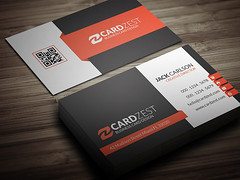 Modern Corporate Professional Business Card Template (Meng Loong) Tags: orange modern photoshop corporate creative free professional clean businesscards download psd businesscarddesign businesscardtemplate
