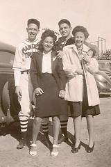 Baseball and girls, 1940's (ozfan22) Tags: friends baseball group